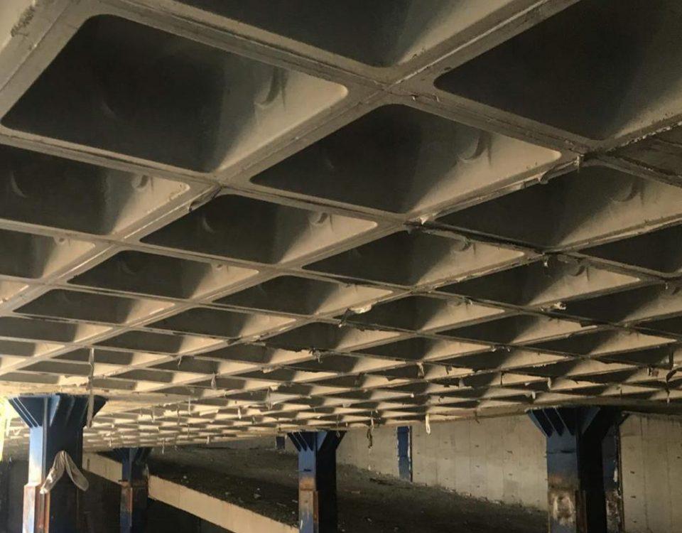 سقف با قالب وافل بر روی اسکلت فلری